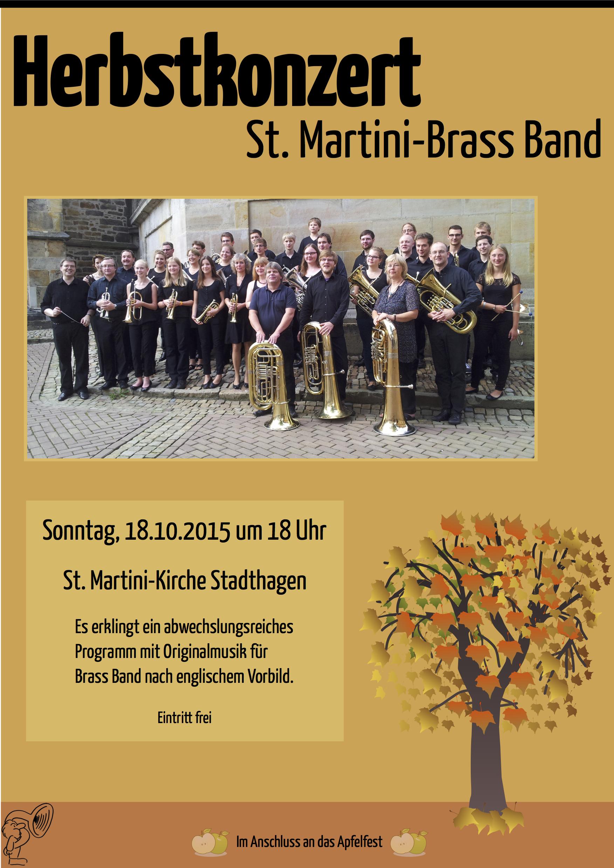 Plakat zum Herbstkonzert der St. Martini Brass Band aus Stadthagen am 18.10.2015