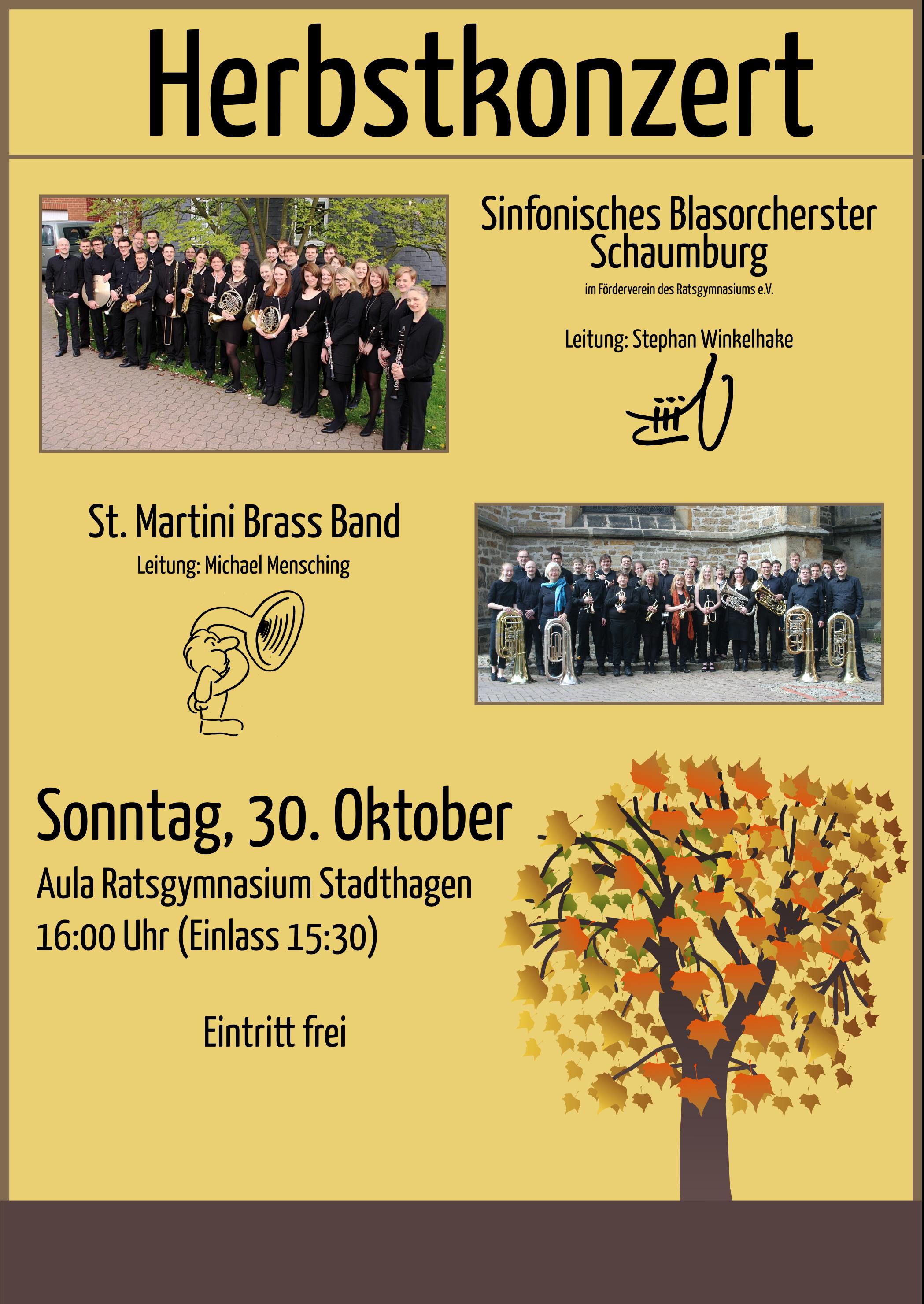 Plakat zum gemeinsamen Herbstkonzert der St. Martini Brass Band aus Stadthagen und dem Sinfonischen Blasorchester Schaumburg am 30.10.2016.