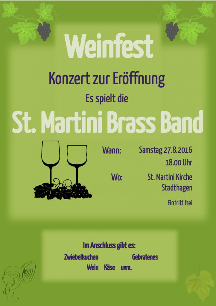 Plakat zum Konzert der St. Martini Brass Band bei der Eröffnung des Weinfestes der St. Martini Kirchengemeinde aus Stadthagen