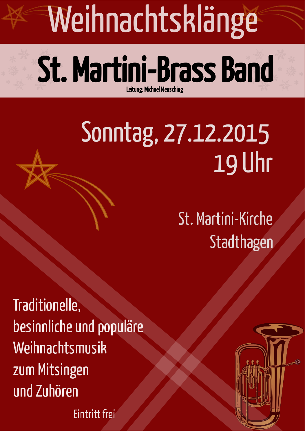 Plakat zum Weihnachtskonzert der St. Martini Brass Band aus Stadthagen am 27.12.2015