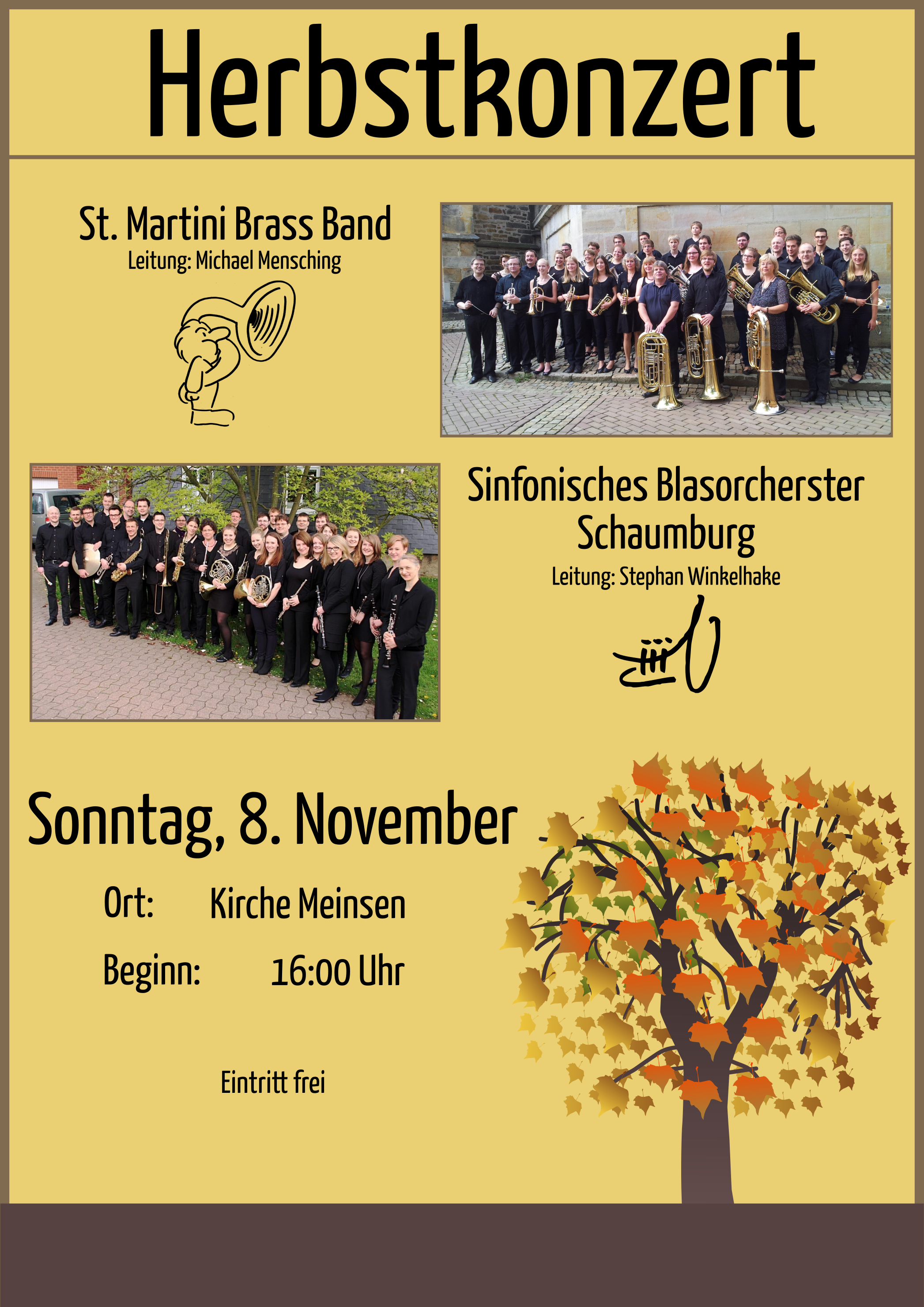 Plakat zum gemeinsamen Herbstkonzert der St. Martini Brass Band aus Stadthagen und dem Sinfonischem Blasorchester Schaumburg am 08.11.2015.