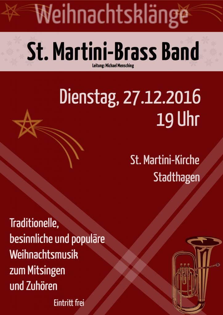 Plakat zum diesjährigen Weihnachtskonzert der St. Martini Brass Band in Stadthagen