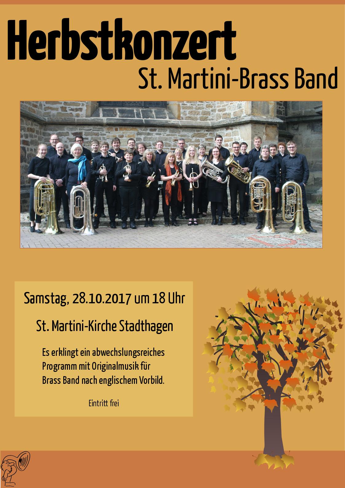 Plakat des Herbstkonzertes der Brass Band
