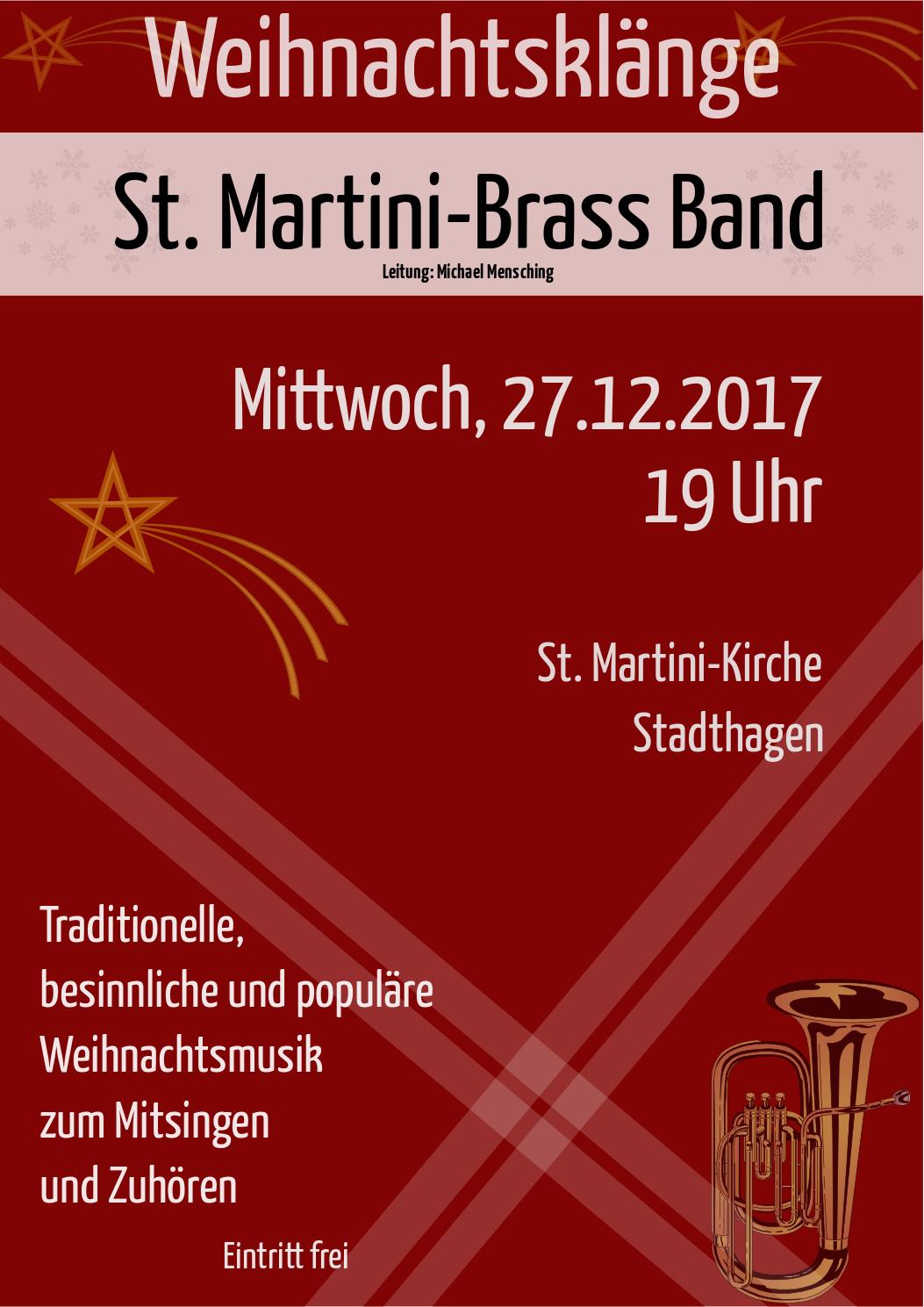 Plakat zum Weihnachtskonzert der St. Martini Brass Band 2017.