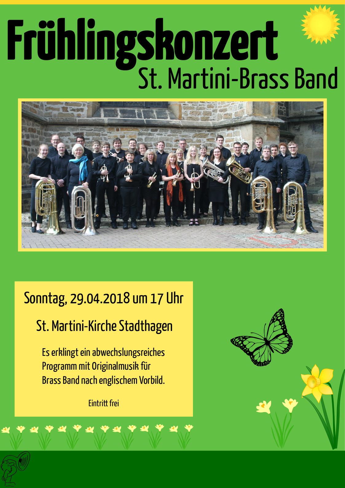 Plakat zum Frühlingskonzert der Brass Band 2018