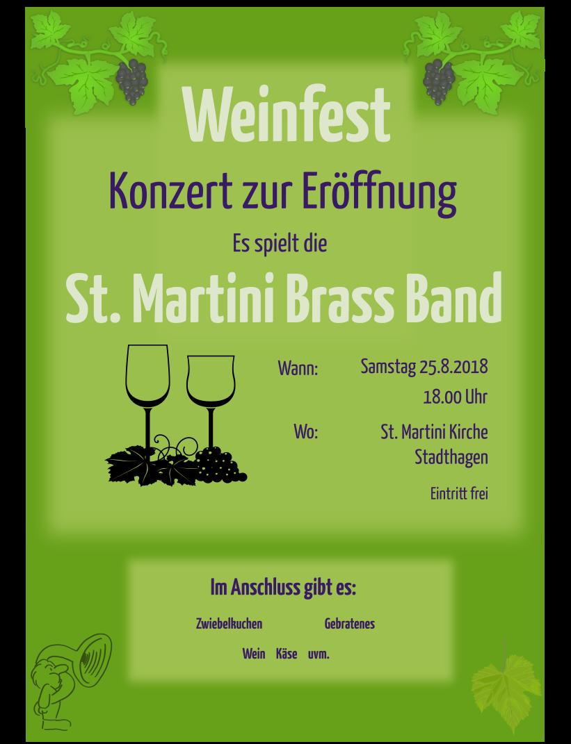 Plakat zum Konzert zur Eröffnung des Weinfestes 2018